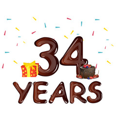 34 years anniversary celebration greeting card vector image vector image
