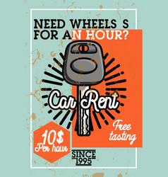color vintage car rent banner vector image