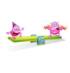 Two pink monsters playing with the seesaw vector image
