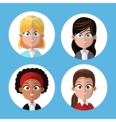 Cartoon group women portrait coworkers office vector