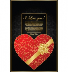 golden valentine background with heart vector image vector image