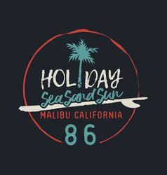 malibu california vintage surf club text label vector image
