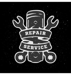 Piston and spanners hand drawn auto emblem vector image vector image