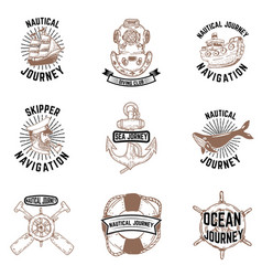 set of hand drawn nautical emblems skipper anchor vector image vector image