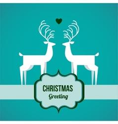 two deer on Christmas greeting card vector image vector image