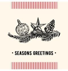 Vintage christmas greeting card christmas card vector