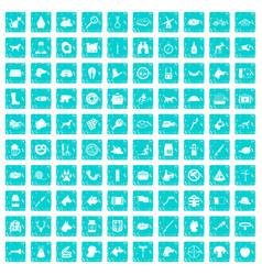 100 dog icons set grunge blue vector image