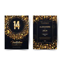 14th years birthday black paper luxury vector
