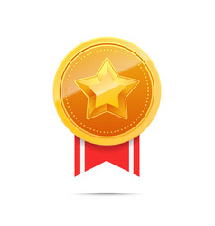 3d gold medal and red ribbon vector image