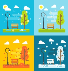 4 seasons park flat design set vector