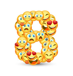 A set emoticons shaped as eight number vector