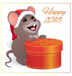 A small funny mouse with a large round red gift vector