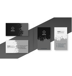 Abstract in splatter black and white business card vector