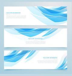 Abstract light blue banners set design vector