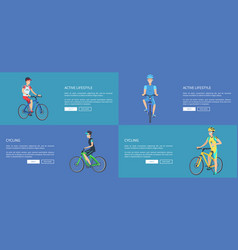 active lifestyle and cycling colorful posters vector image