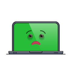 Ailing laptop computer isolated emoticon vector