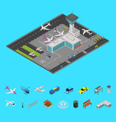 airport concept and elements 3d isometric view vector image