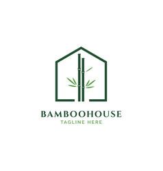 bamboo house logo design vector image