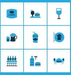 beverages icons colored set with mojito beer with vector image