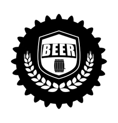 black beer cap emblem icon image vector image