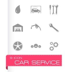 Black car service icons set vector
