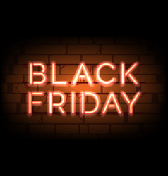 black friday neon sale tag vector image
