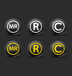 black registred icons vector image