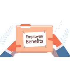 businessman hands holding employee benefits vector image