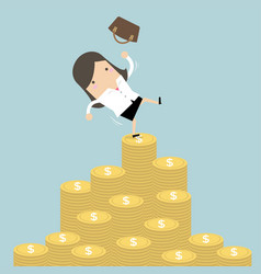 businesswoman falling of money mountain vector image