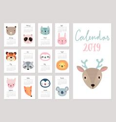 Calendar 2019 cute monthly calendar with animals vector