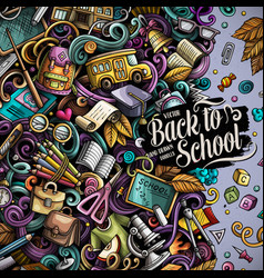 Cartoon doodles back to school frame vector