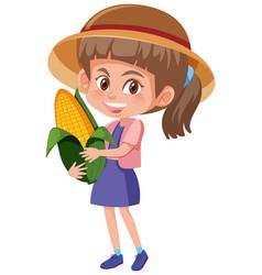 Children cartoon character holding fruit vector