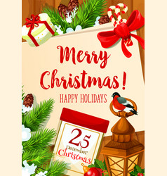 Christmas 25 december holiday greeting card vector