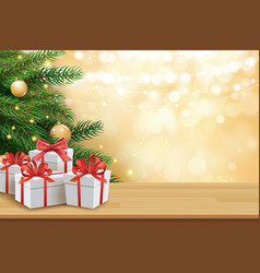 christmas greeting card with gifts boxes on vector image