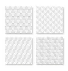 Collection of white seamless geometric textures vector