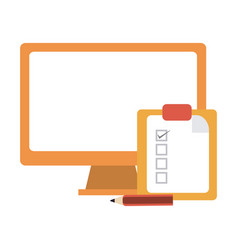 computer and clipboard tasks vector image