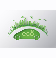 Concept of eco car and environment vector