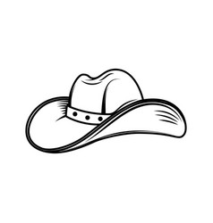 cowboy hat in engraving style design element vector image