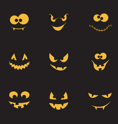 Creepy faces set vector