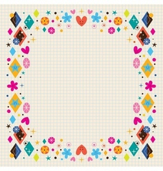 cute hearts stars flowers and diamond shapes frame vector image