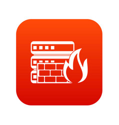 Database and firewall icon digital red vector