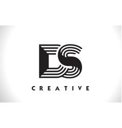 Ds logo letter with black lines design line letter vector