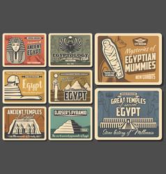 Egypt travel pharaoh pyramid mummy and sphinx vector