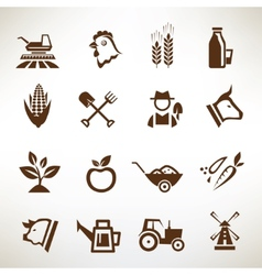 farm and agriculture icons collection vector image vector image