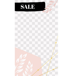 fashion floral story cute pink sale social media vector image