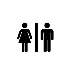 female and male silhouettes with a vertical line vector image