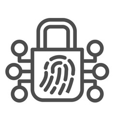 Fingerprint with lock line icon finger scan vector
