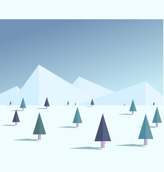 flat winter forest vector image