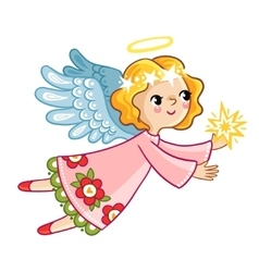 Flying angel with wings holding in hands star vector