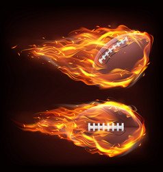 flying rugball in fire vector image